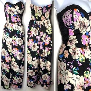 BAND OF GYPSIES Black Floral Strapless Jumpsuit M